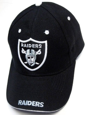 Oakland Raiders NFL Game Day Black Hat Cap White Logo & Text on Bill Adjustable