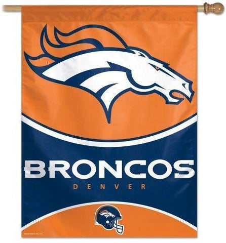 Denver Broncos NFL 27 x 37 Vertical Hanging Wall Flag Helmet Logo Bar Banner