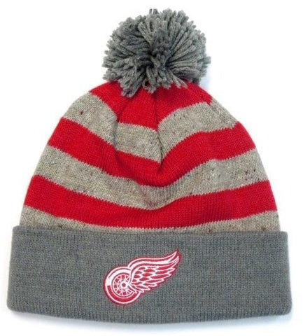 Detroit Red Wings NHL Mitchell & Ness Speckled Oatmeal Pom Knit Hat Cap Beanie