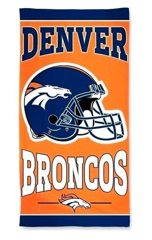 "Denver Broncos NFL 30"" x 60"" Orange Beach Towel Pool Blanket Helmet Logo"