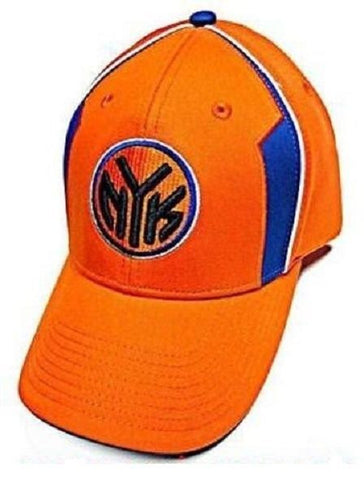 New York Knicks NBA Elevation NYK Logo Hat Cap Solid Orange w/ Blue Highlights