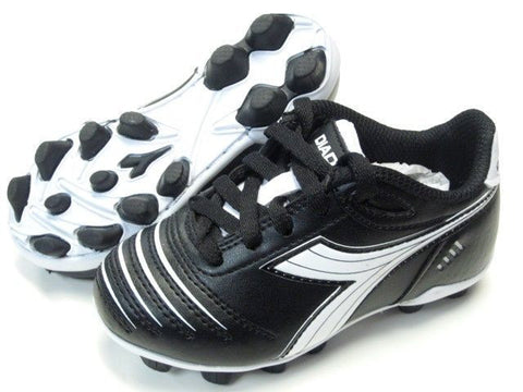 Diadora Cattura MD JR Youth Soccer Cleats Black / White Shoes Kids Size 2