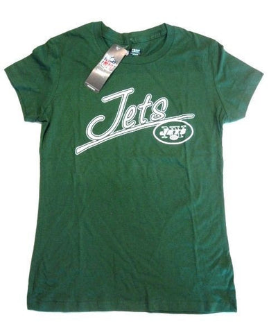 New York Jets NFL Green White Text Logo Short Sleeve T Shirt Top Womens Large L