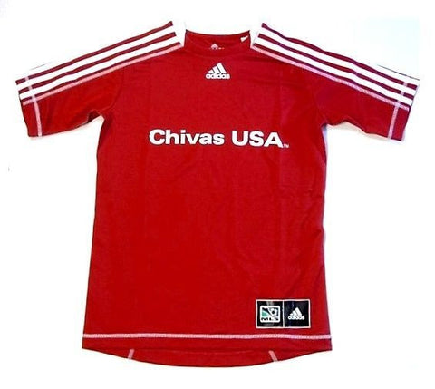 Chivas USA MLS Club Deportivo Adidas Soccer Jersey Red w/ White Shirt Youth L