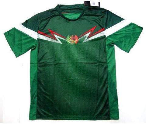 Mexico Soccer Futbol Jersey Green w/ White & Red Trim Flag Logo Shirt Mens Large