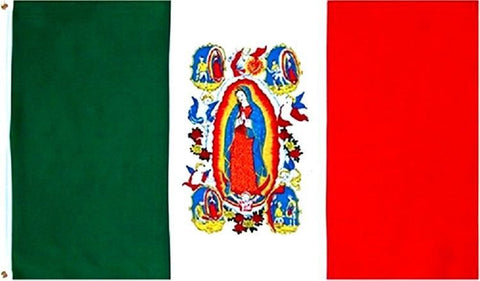 Mexico Guadalupe 3' x 5' Flag w/ Grommets to Hang Pride Country Soccer Banner