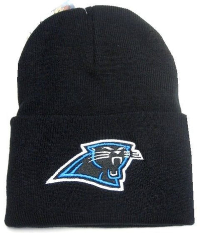 Carolina Panthers NFL Black w/ Logo Cuffed Knit Hat Cap Ski Snow Winter Beanie