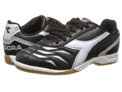 Diadora Capitano ID JR Youth Indoor Soccer Cleats Black / White Shoes Kids 5.5