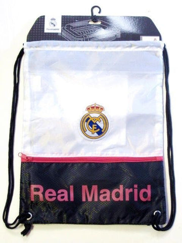Real Madrid Club Spain Soccer White Pink Drawstring Cinch Bag Backpack Sack Pack
