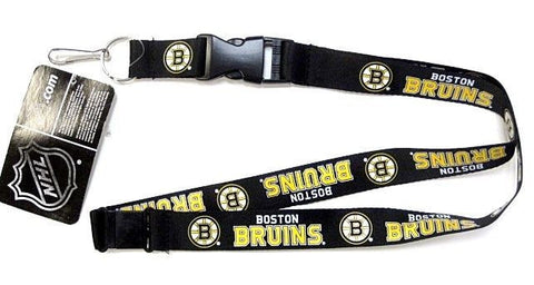 Boston Bruins NHL PSG Black Logo Lanyard Breakaway Metal Key Chain Ring & Clip