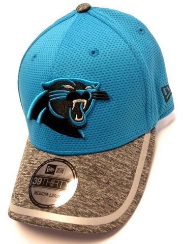 Carolina Panthers NFL New Era Training Hat Cap Blue / Heather Gray Flex Fit M/L