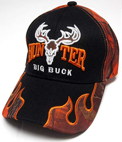 7bb4c1ea882598 TFA Big Buck Hunter Black & Orange Camo Flames Hunting Hat Cap Adult M –  East American Sports LLC
