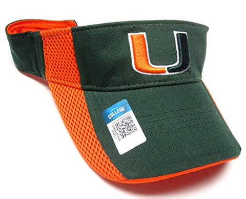 Captivating Headwear Miami Hurricanes NCAA Orange Mesh Sided Green Golf Sun Visor Hat Cap Adult Adjustable
