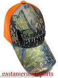 Camouflage Camo I'd Rather Be Hunting Hat Cap Reel Tree Fluorescent Orange Adult