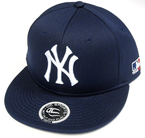 New York Yankees MLB OC Sports Flat Brim Hat Cap Solid Navy Adult Adjustable