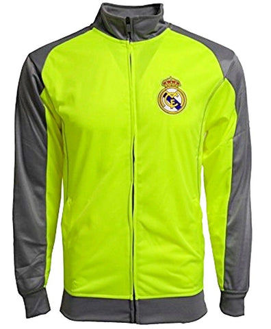 more photos 64535 a146d Real Madrid Soccer Track Jacket Neon Green Gray Warm Up Full Zip Men's S M  L XL