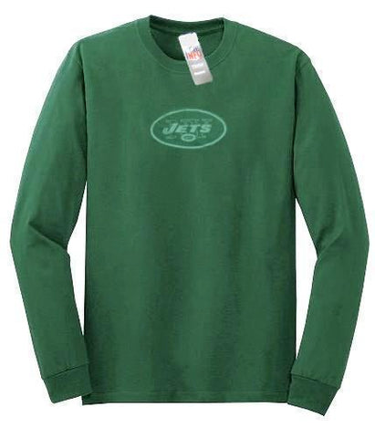 New York Jets NFL Reebok Sideline Green Long Sleeve Shirt Gray Fade Logo Mens L
