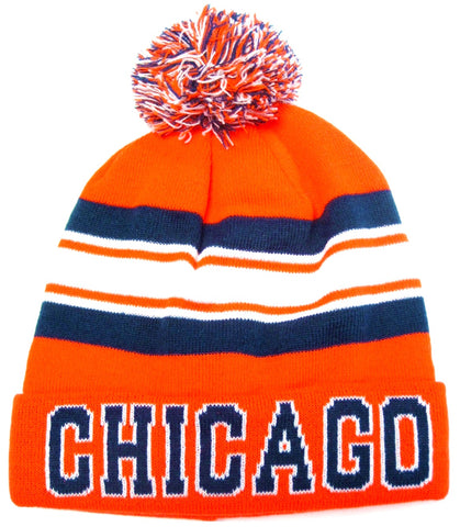 Chicago Bears Navy Blue / Orange Classic POM Ball Knit Hat Cap Winter Ski Beanie