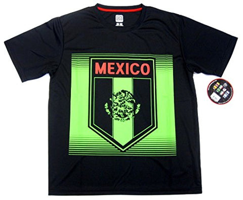 Rhinox Mexico Black Performance Training Jersey Soccer T-Shirt Adult Men's Large L