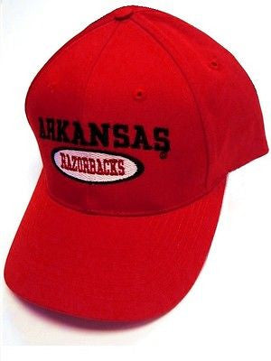 Arkansas Razorbacks NCAA Basic Solid Red Hat Cap Oval Logo Classic Snapback