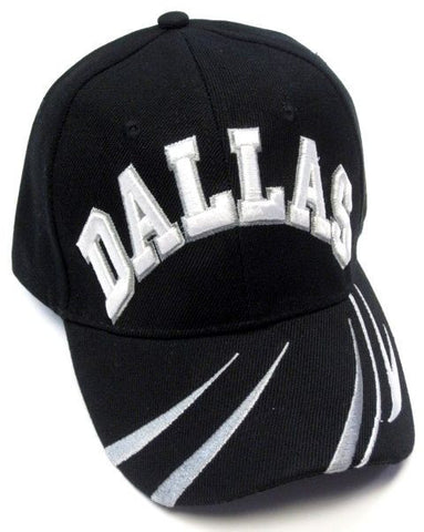Dallas Cowboys Stitched Black Hat Cap Embroidered White/Gray Text Logo Curvy Lines Brim