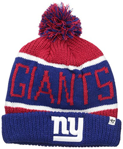 '47 NFL New York Giants Calgary Cuff Knit Beanie with Pom, Red, One Size