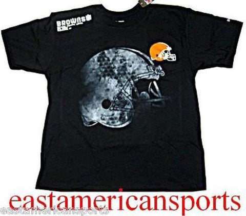 Cleveland Browns NFL Reebok Sideline Graphic Label Logo Black Tee Shirt Mens