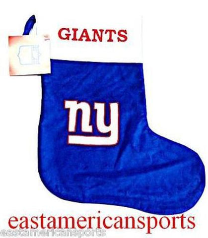 New York Giants NFL Christmas Holiday Fuzzy Hanging Stocking Santa Claus Logo