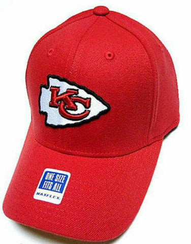 Kansas City Chiefs NFL Solid Red Hat Cap MaxFlex Flex Fit Fitted White Logo OSFA