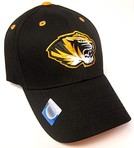 Captivating Headwear Missouri Tigers NCAA Basic Black Structured Hat Cap Adult Men's Adjustable