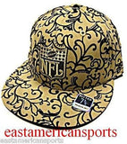 New Orleans Saints NFL Logo Reebok Flat Bill Wool Hat Cap Gold Tan Tattoo Fitted