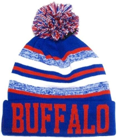 Buffalo Bills Blue / Red Classic POM Ball Knit Hat Cap Winter Ski Beanie