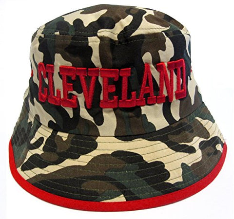 Cleveland City Camo/Red Bucket Golf Fishing Sun Hat Cap Embroidered Text Logo