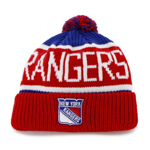 New York Rangers NHL '47 Red / Blue Calgary Pom Cuff Knit Hat Cap Adult Beanie
