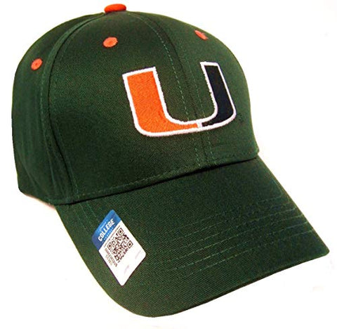 Captivating Headwear Miami Hurricanes NCAA Basic Green Structured Hat Cap Adult Men's Adjustable