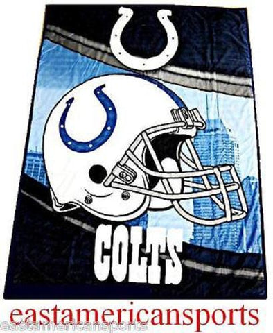 Indianapolis Colts NFL 60 x 80 Microfiber Sherpa Fleece Throw Blanket Helmet Bed
