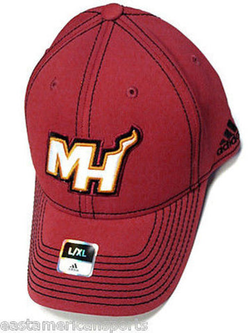 Miami Heat NBA Adidas Red Hat Cap Black Stitched MH Logo Flex Fit Fitted L/XL
