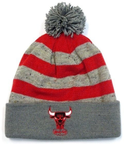 Chicago Bulls NBA Mitchell Ness Stripe Windy City Pom Knit Hat Cap Winter Beanie