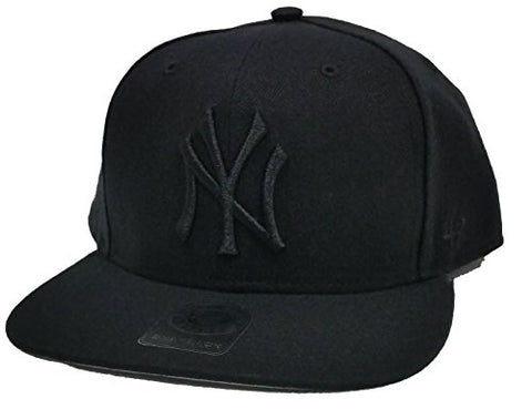 New York Yankees MLB '47 Black Total Logo Flat Brim Hat Cap Adult Men's Adjustable SnapBack