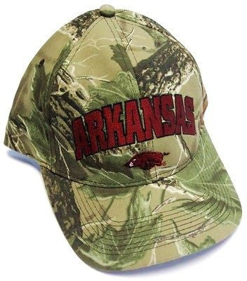 Arkansas Razorbacks NCAA Full RealTree Camo Hat Cap Red Hogs Logo Adjustable
