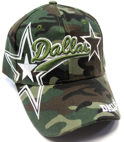 Dallas Cowboys Camo Hat Cap Script Visor Embroidered Signature Double Star Logo
