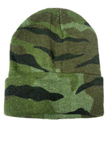Camouflage Camo Green Woodland Winter Knit Hat Skull Cap Toboggan Beanie Hunting