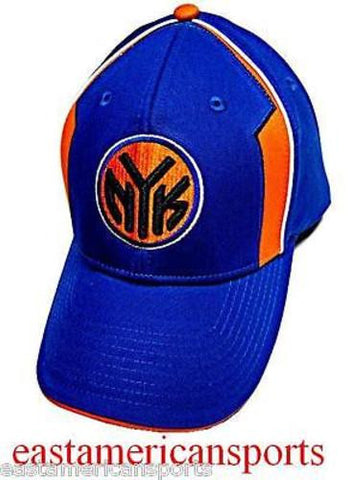 New York Knicks NBA Elevation NYK Logo Hat Cap Solid Blue w/ Orange Highlights 1