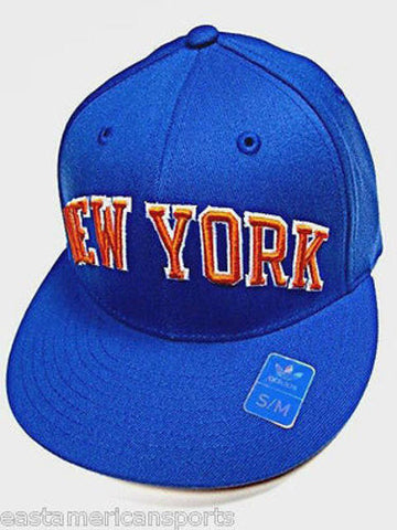 New York Knicks NBA Adidas Solid Blue Orange Flat Visor Hat Cap Flex Fit S/M