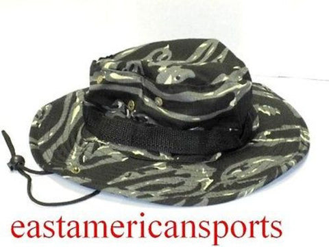 Camo Camouflage Floppy Boonie Hat Cap Black Gray Army Military Fishing Hunting