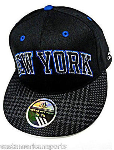 New York Knicks NBA Adidas Black Blue Fashion Flat Visor Hat Cap Flex 210 Fitted