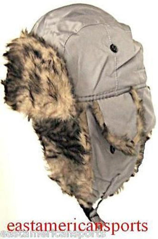 Trooper Bomber Gray Silver Faux Hat Winter Ski Cap Fur Hunting Hiking Motorcycle