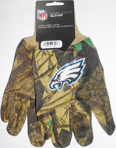 Philadelphia Eagles NFL Camo Camouflage Utility Work Grip Gloves All Purpose