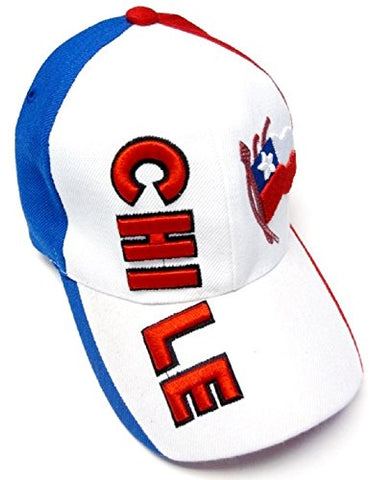 Kool Konnections Chile Red White Blue Soccer Country Pride Hat Cap Embroidered Text & Flag Adult Mens Adjustable