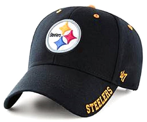 Pittsburgh Steelers NFL '47 MVP Frost Black Hat Cap Adult Men's Adjustable